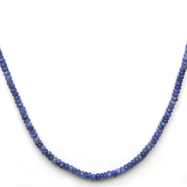 "50.00 Ct 18"" Genuine Sapphire Beads Necklace Silver Magnetic Clasp by"