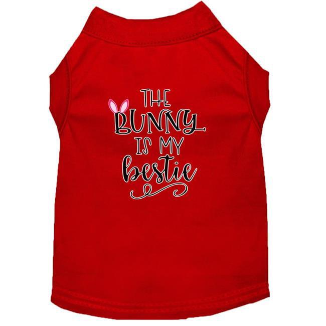 Bunny is my Bestie Screen Print Dog Shirt Red XL (16)