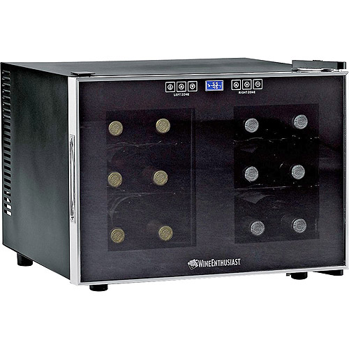 Wine Enthusiast 12-Bottle Dual-Zone Free Standing Countertop Wine Cooler