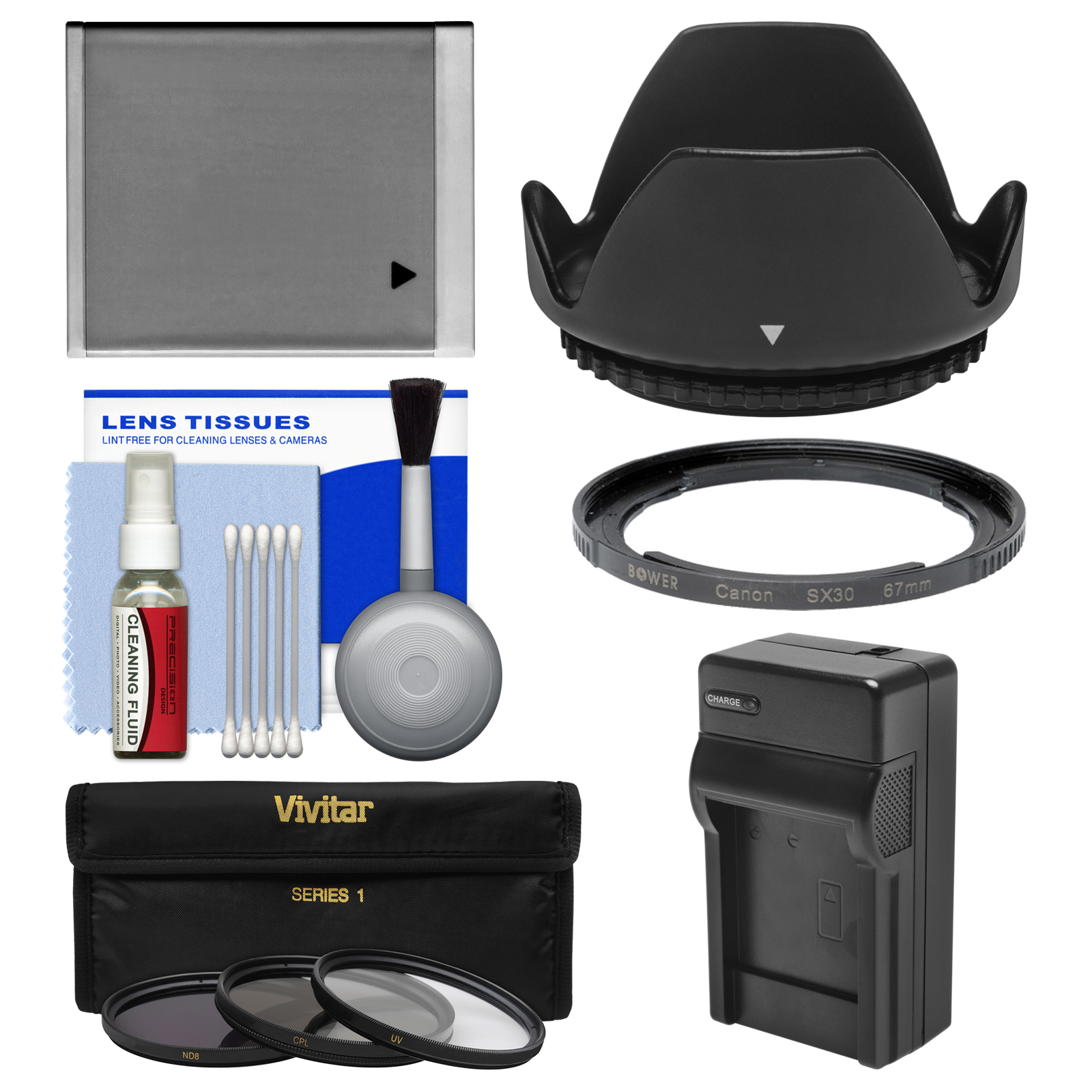 Essentials Bundle for Canon PowerShot SX520, SX530 & SX540 HS Camera with NB-6L Battery & Charger + 3 UV/CPL/ND8 Filters + Kit