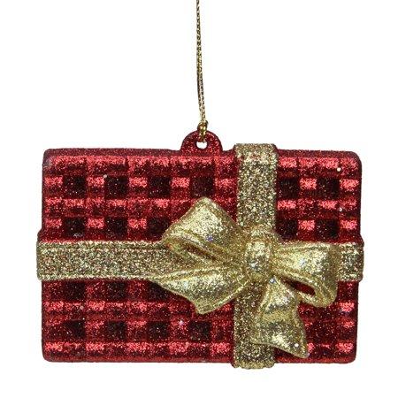 Gingerbread Kisses Red & Gold Glitter Rectangular Gift Box Christmas Ornament