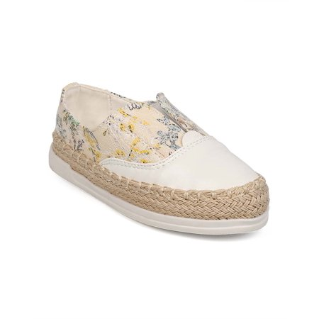 New Girl Floricienta Kayla-02 Floral Mix Media Round Toe Espadrille Sneaker