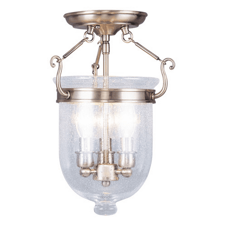 Semi Flush Mounts 3 Light With Seeded Glass Antique Brass size 10 in 180 Watts - World of Crystal Antique Brass Semi Flush