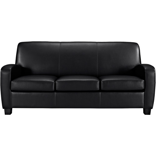 Mainstays Faux Leather Sofa, Black   Walmart.com