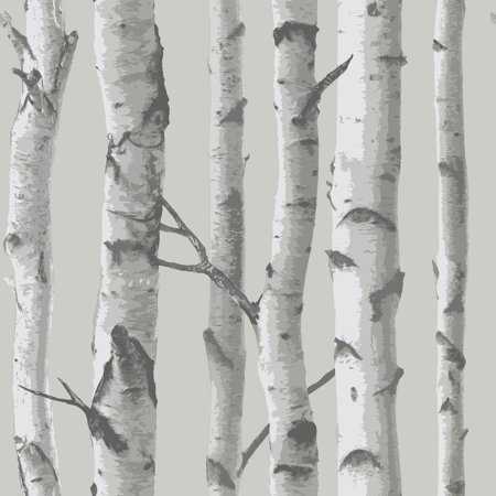 Mountain Birch Peel & Stick Wallpaper Gray - Brewster