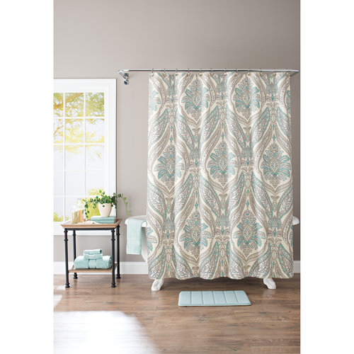 Better Homes And Gardens Damask Aqua Paisley 13 Piece Shower Curtain Set,  Hooks Included
