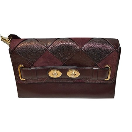 Coach Blake Clutch In Mahogany Patchwork Leather
