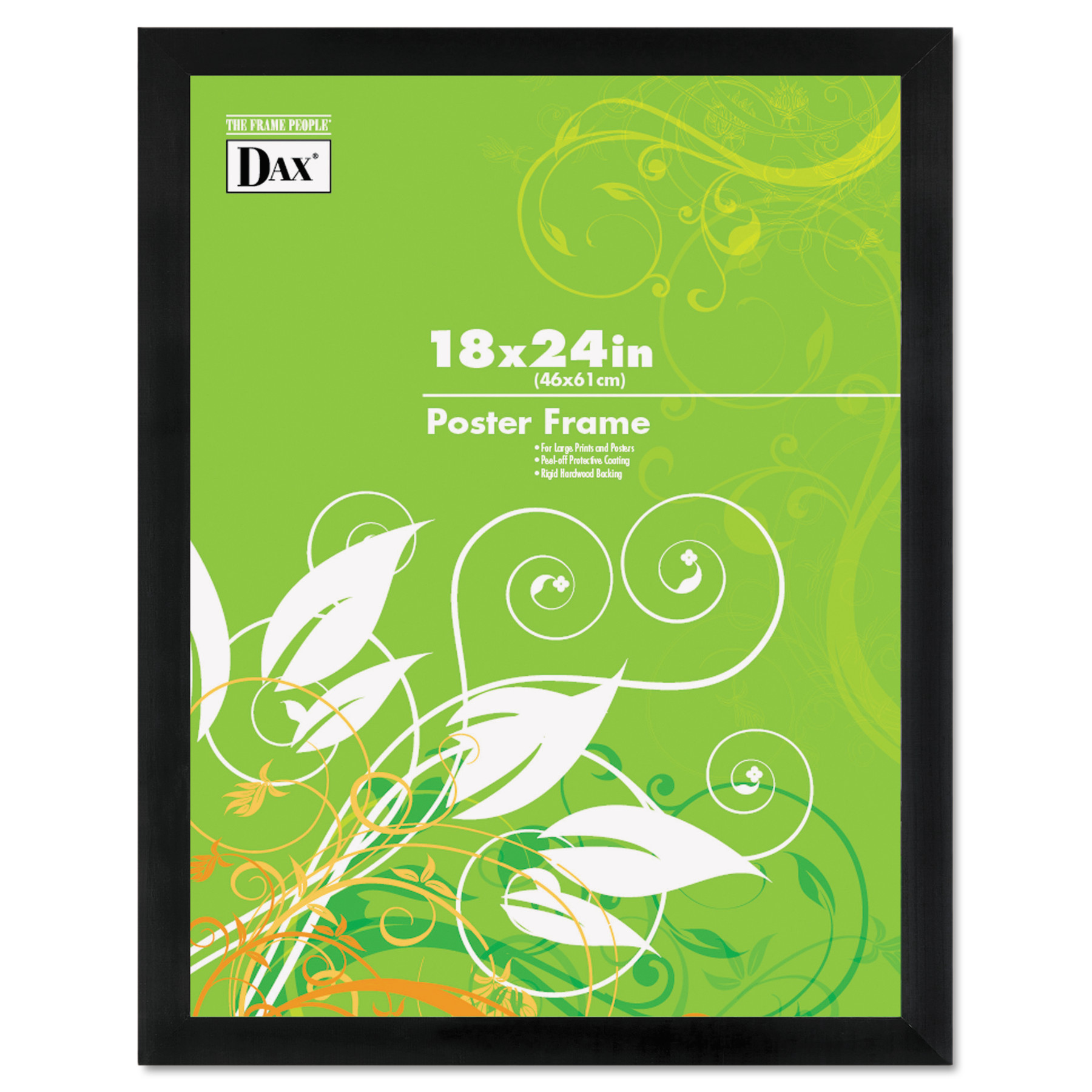 DAX Black Solid Wood Poster Frames w Plastic Window, Wide Profile, 18 x 24 by DAX MANUFACTURING INC.