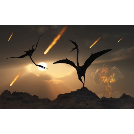 Asteroid Halloween Day (The last days of Quetzalcoatlus during the Cretaceous Period caused by a giant asteroid impact at Chicxulub off the coast of Mexico Poster)