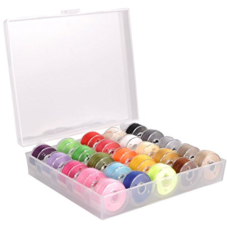 eZAKKA Bobbin Box Organizer with 25 Bobbins Threaded with Assorted Color Thread for Brother Babylock Janome Kenmore Elna Singer