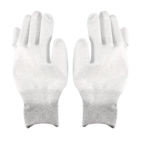 Carbon Fiber Gloves - 2 Pair, Nylon Carbon fiber Work Gloves Microfiber Full Finger Working Protective Gloves Gray L