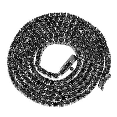 Black Chains (Onyx Black Lab Created Cubic Zirconia Mens Rapper Style Tennis Link Solitaire Chain Necklace)