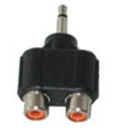 Two RCA Jack Female to One 3.5 mm. Mono TS Male -