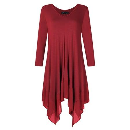 0902486a5e4d Women Irregular Hem Long Sleeve Loose Shirt Dress Top - Walmart.com