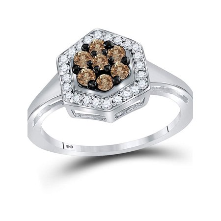 10kt White Gold Womens Round Cognac-brown Color Enhanced Diamond Polygon Cluster Ring 1/2 Cttw - image 2 de 4