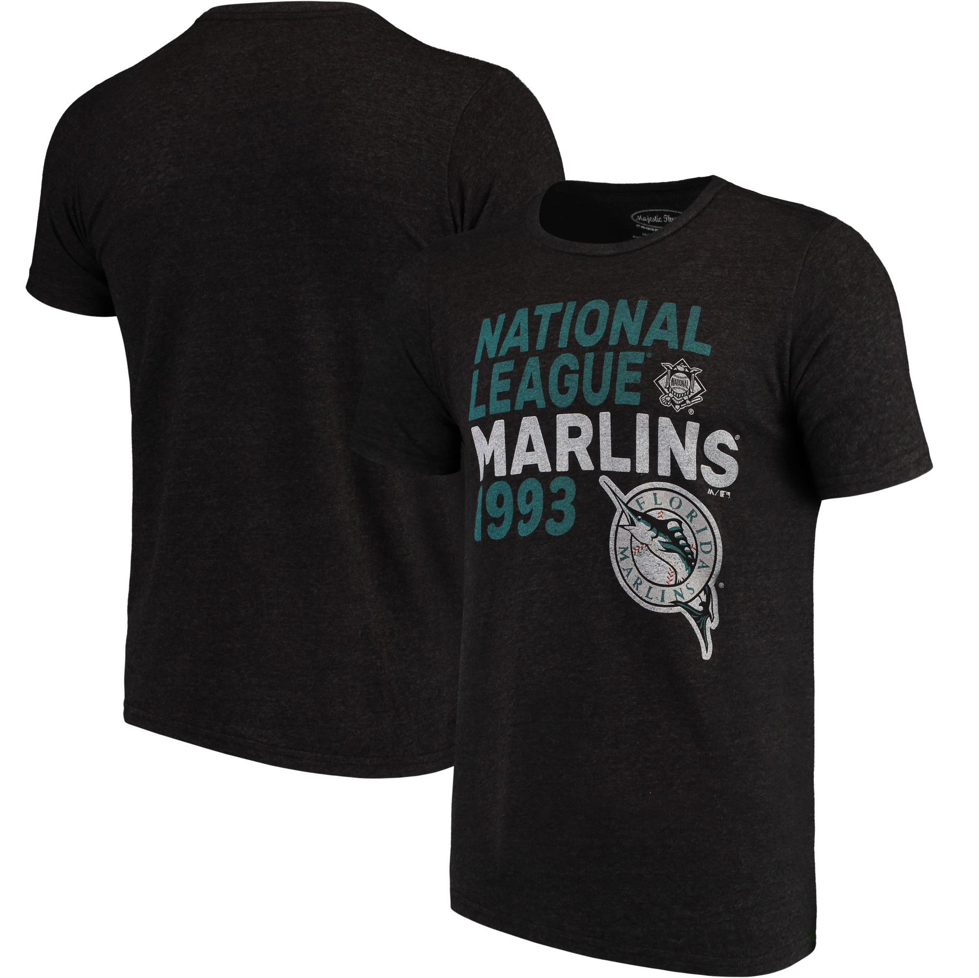 Miami Marlins Majestic Threads Throwback Cooperstown Collection Tri-Blend T-Shirt - Black