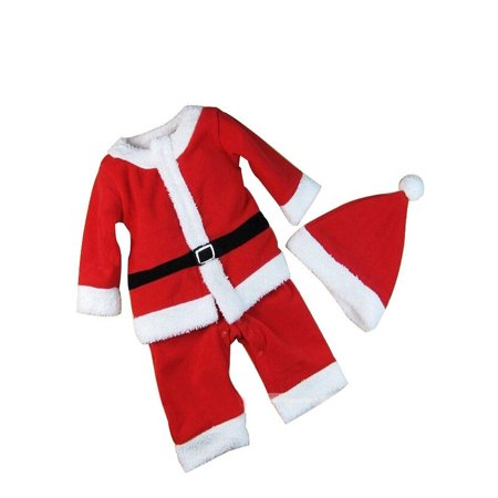 Baby Boys Xmas Santa Claus All-in-one Costume Romper Outfit + Hat, 2-pc (80/12-18 Months)