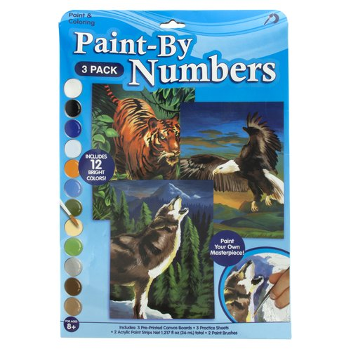 Paint-by-Numbers Wolf, Eagle and Tiger