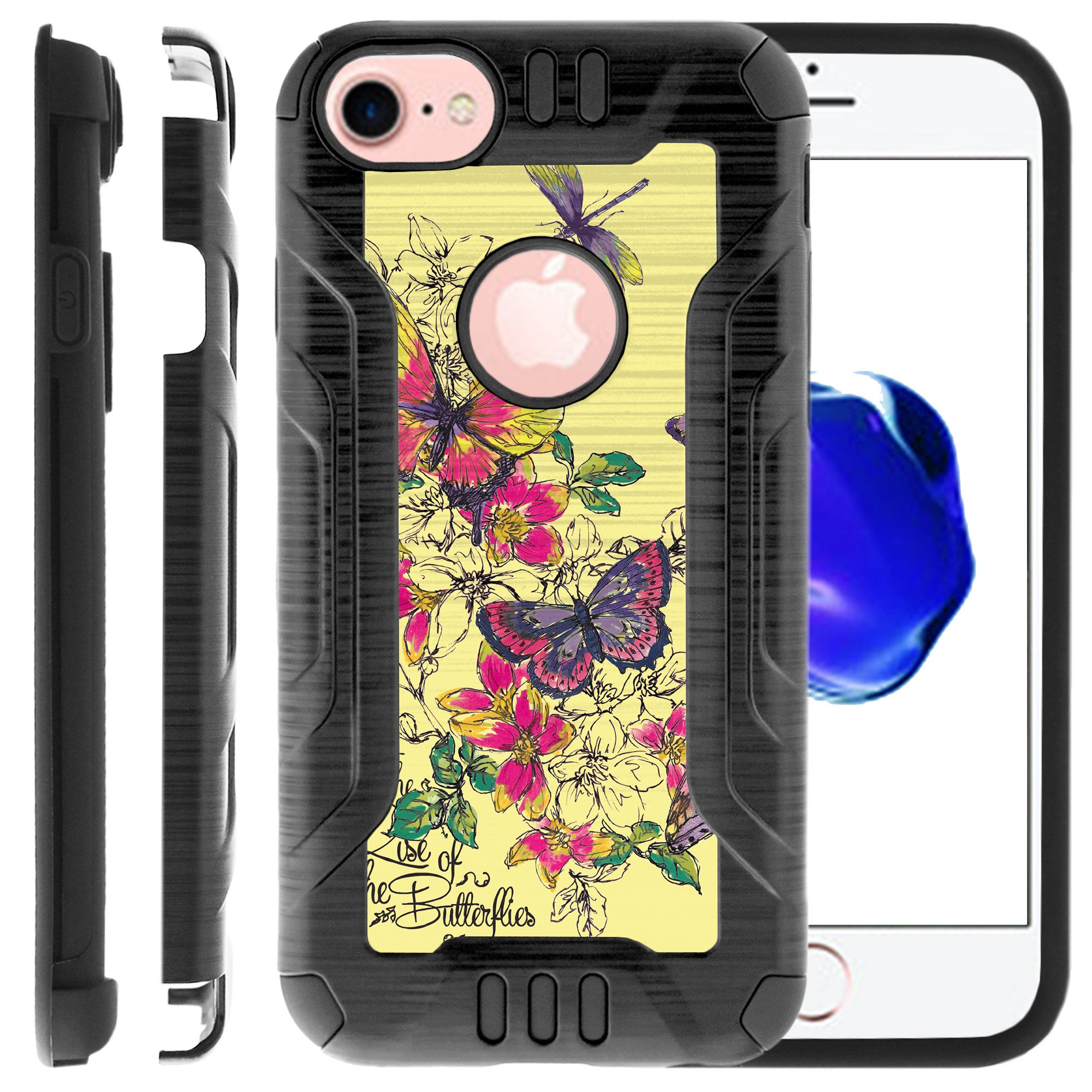 Apple iPhone 6 | 6s Phone Case, Dual Layer Case for iPhone 6 [PRO-Tech Series] Rigid Hard Plastic Shell TPU Bumper Corners with Design by MINITURTLE - Yellow Butterflies