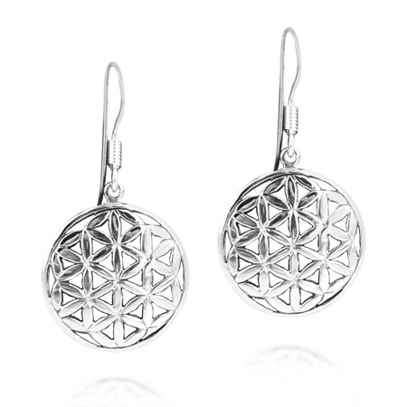 Flower of Life Water Lilies Connection .925 Sterling Silver Earrings