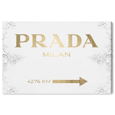 Runway Avenue Fashion and Glam Wall Art Canvas Prints 'Milan Sign Contemporary Gold' Home Décor, 45