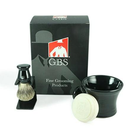 Men's Grooming Set - Comes with Gift Box - Black Shaving Mug with Knob