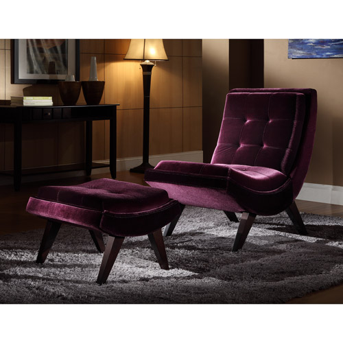 Tufted Occasional Chair and Ottoman, Purple Velvet