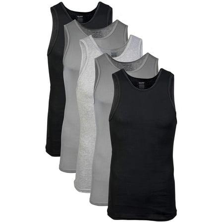 Gildan Men's Cotton Ribbed Assorted Color A-Shirt, 5-Pack ()