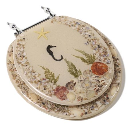 Seahorse Acrylic Toilet Seat - Jones Stephen C1B6R9-SHCH Acrylic Toilet Seat with a Closed Front and Chrome Hinges- Seahorse