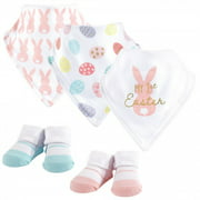 Hudson Baby Infant Girl Cotton Bib and Sock Set 5pk, Girl First Easter, One Size