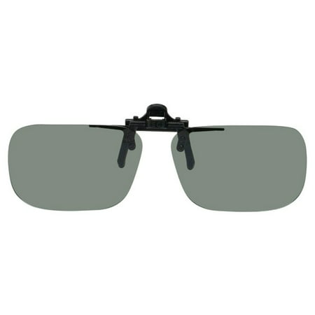 Polarized Clip on Flip up Plastic Sunglasses, Rectangle, 52mm Wide X 35mm High (117mm Wide), Polarized Grey Lenses