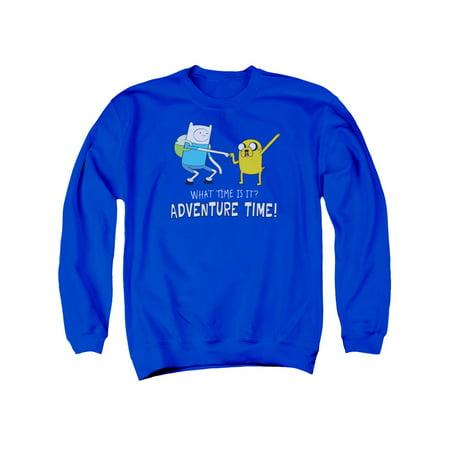 Adventure Time Fist Bump Royal Blue Adult Crewneck Sweatshirt
