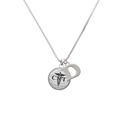 Silvertone Domed Black CRT - D - Initial Necklace