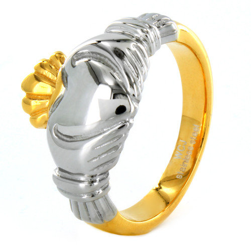 West Coast Jewelry ELYA Two-tone Stainless Steel Claddagh Ring