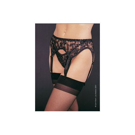 Women's 2-Piece Lace Garter Belt Set with Matching Thong, Black, One - Net Cami Garter Set