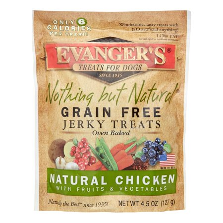 Evanger's Nothing but Natural Jerky Grain-Free Chicken with Fruit & Vegetable Dog Treats, 4.5