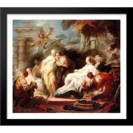 Fragonard Gift (Psyche showing her sisters her gifts from Cupid 32x28 Large Black Wood Framed Print Art by Jean-Honore Fragonard )