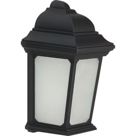 Outdoor Fluorescent Wall Fixture, 13 Watt, Black, Frost Glass Lens Black Fluorescent Outdoor Hanging