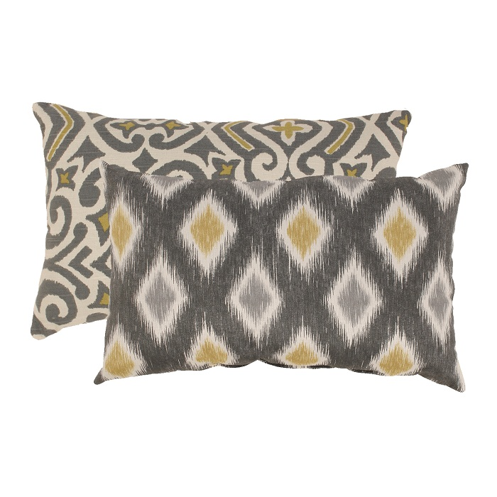 "2 Eco-Friendly Moroccan Flair Graphite & Chartreuse Throw Pillows 18.5"" x 11.5"""