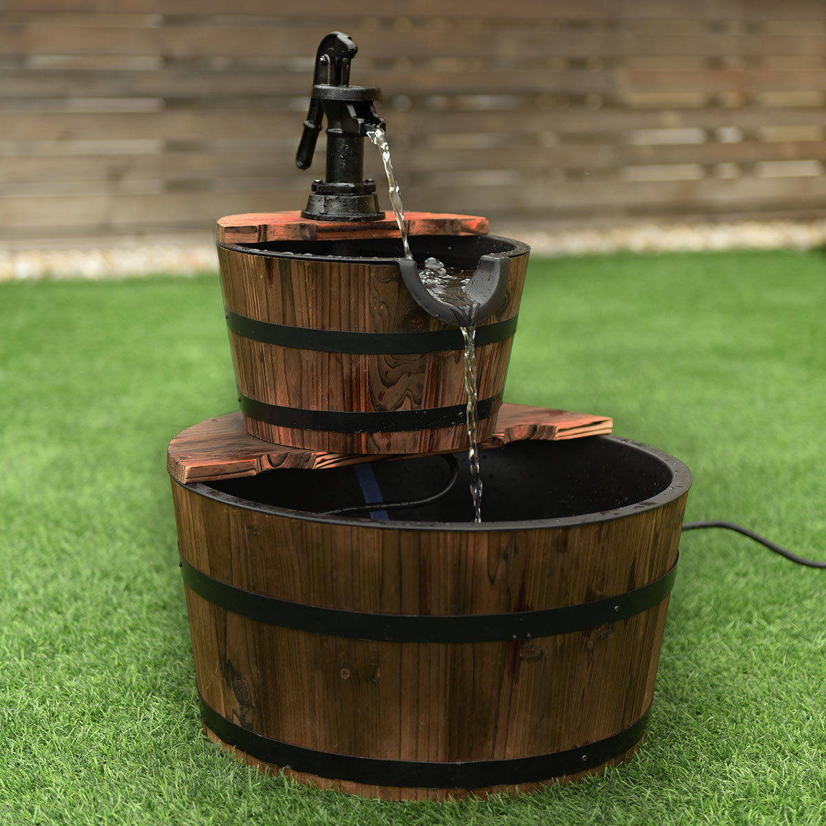 Costway 2 Tier Barrel Waterfall Fountain Barrel Wooden Water Fountain Pump Outdoor Garde