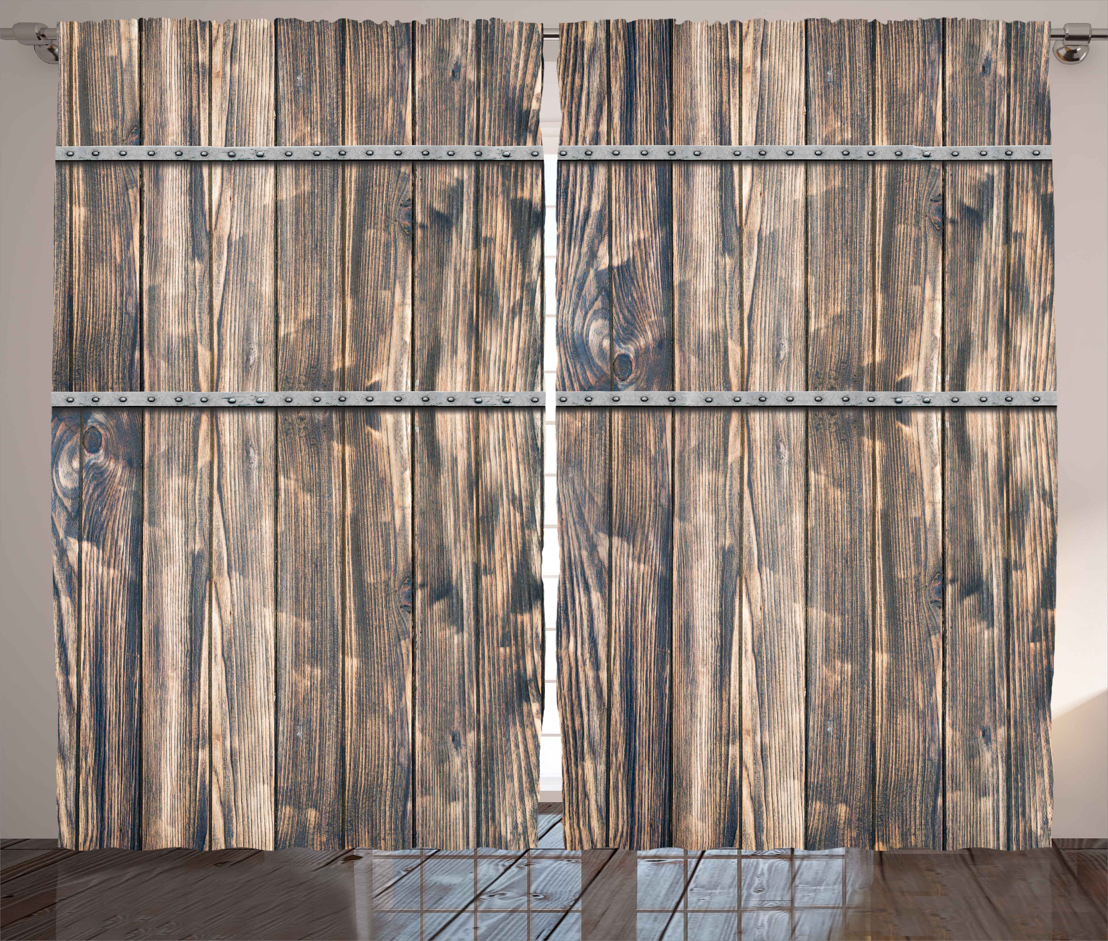 Wooden Decor Curtains 2 Panels Set, Rustic Wooden Long Farmhouse Themed  Planks With Screws And