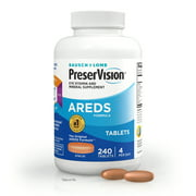 PreserVision AREDS Eye Vitamin & Mineral Supplement, Contains Vitamin C, A, E, Zinc & Copper, 240 Tablets