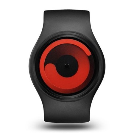 Unisex Gravity Black Plastic Watch - Black Rubber Strap - Red Dial -