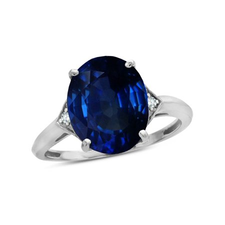 Star K Large Oval 12x10 Created Sapphire 3 Stone Trillion Setting Ring