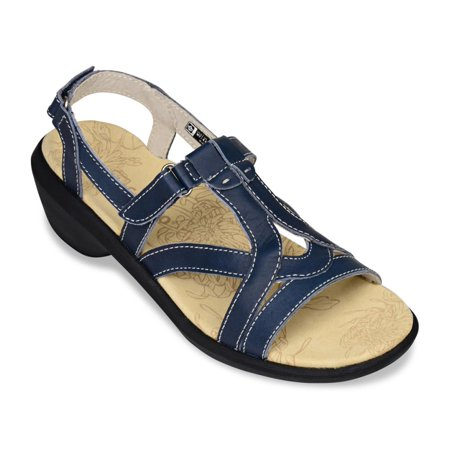 Spenco Charlotte Women's Dress/Casual Sandals - Navy (Arcadia Navy Leather)