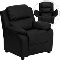 Deluxe Padded Black LeatherSoft Kids Recliner with Storage Arms