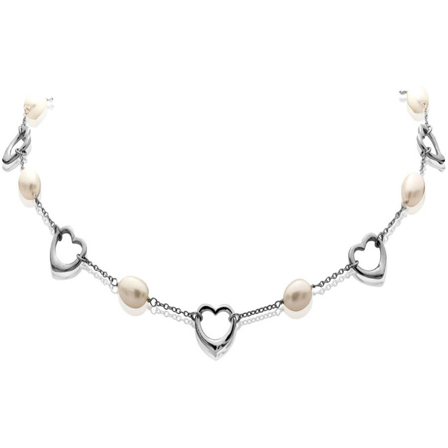 7-8mm White Cultured Pearl with Sterling Silver Heart Links Necklace by ADDURN