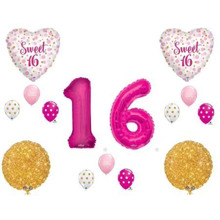 Sweet 16 Pink & Gold Polka Dots Birthday Party Balloons Decoration Supplies