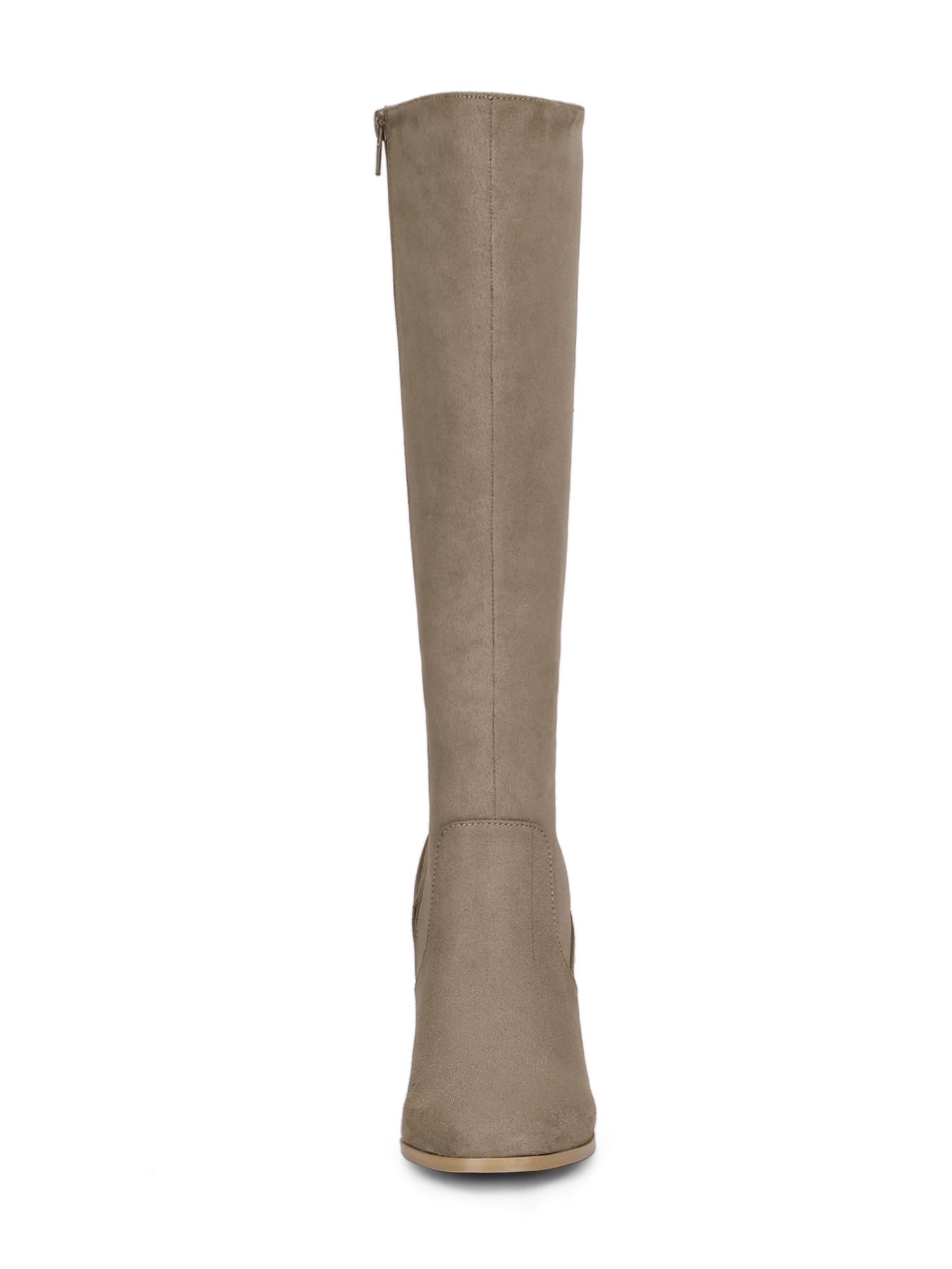 Women's Round Toe Block Heel Knee High Boots Taupe (Size 7)
