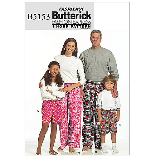 Butterick Pattern Misses', Men's, Children's, Boys' and Girls' Shorts and Pants, Adult (S, M, L, XL)